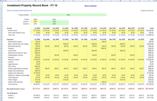 Investment Property Spreadsheet Australia Regarding Investment Propertyet Template Onlyagame With Regard To Sheet Rental