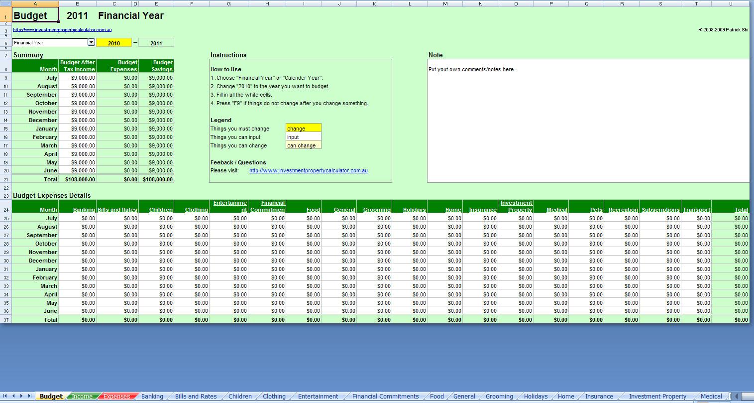 Investment Property Spreadsheet Excel Inside Free Comprehensive Budget Planner Spreadsheet Excel