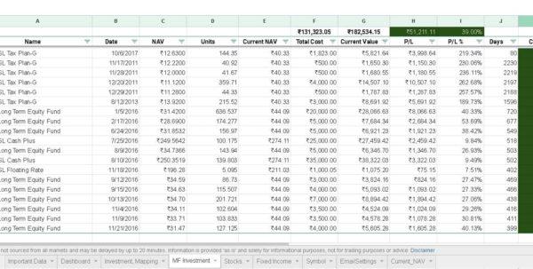 Investment Spreadsheet With Regard To Google Spreadsheet Portfolio Tracker For Stocks And Mutual Funds Investment Spreadsheet Google Spreadsheet