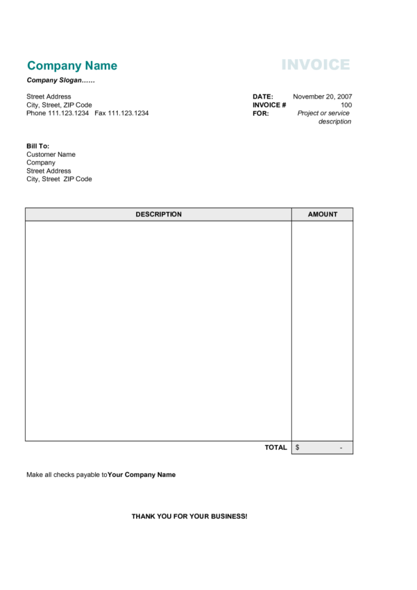 Invoice Spreadsheet Template Free With Free Printable Invoice Templates Word And Invoice Template Free