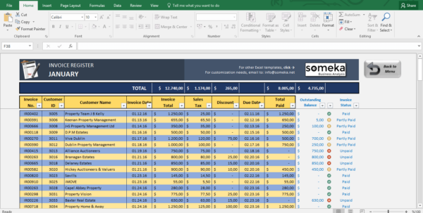 Invoice Tracking Spreadsheet Regarding Invoice Tracker  Free Excel Template For Small Business