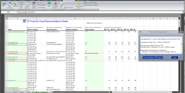 Ip Spreadsheet Template In Check The Network  Ip Tools For Excel Addin / Plugin