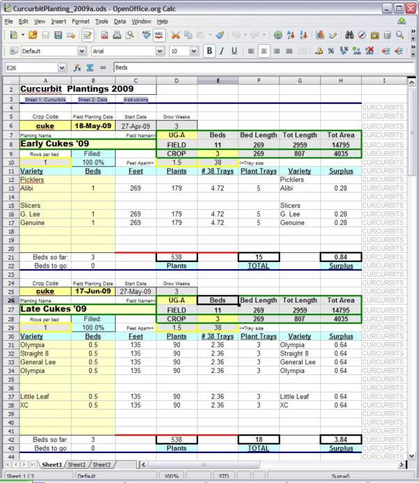 Irrigation Spreadsheets Excel Inside Spreadsheet Planting Calculator  Snakeroot Organic Farm