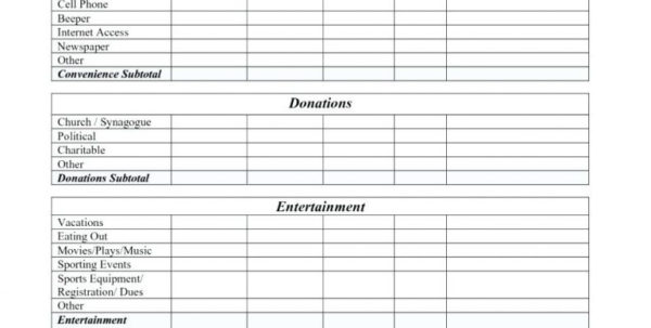 Irs Donation Values Spreadsheet Within Charitable Donation Worksheet And Salvation Army With Donations