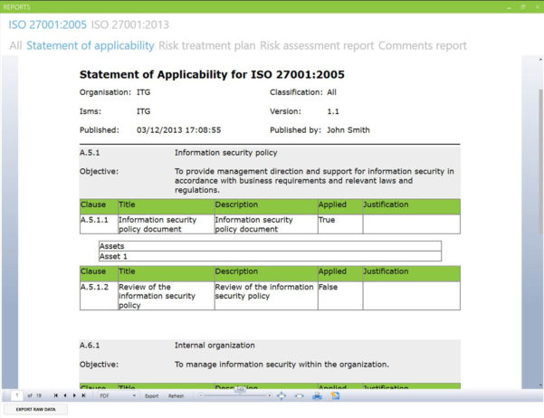 Iso 27001 2013 Risk Assessment Spreadsheet For Iso Risk Assessment Template 148604 Statement Of Applicability Index