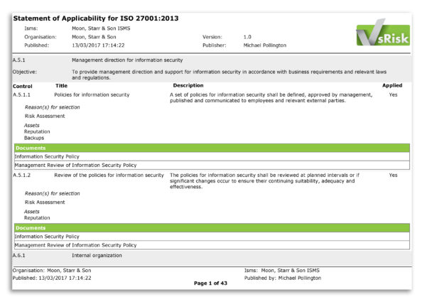 Iso 27001 2013 Risk Assessment Spreadsheet Throughout The Statement Of Applicability In Iso 27001:2013 – Vigilant Software