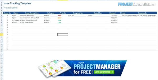 Issue Tracking Spreadsheet Template Intended For 012 Project Management Excel Free Issue Tracking Template Screen