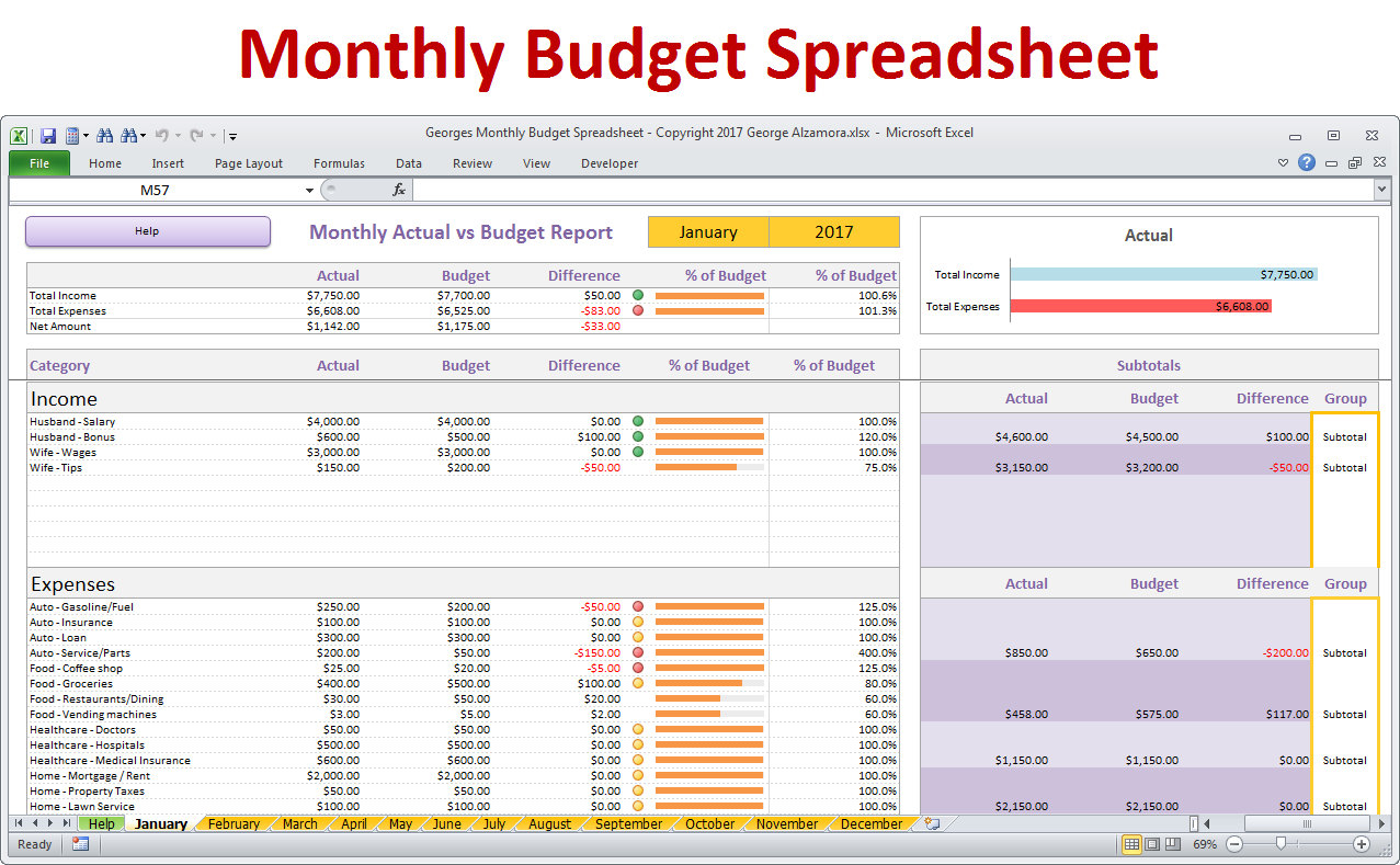 It Budget Spreadsheet Pertaining To Monthly Budget Spreadsheet Planner Excel Home Budget For  Etsy