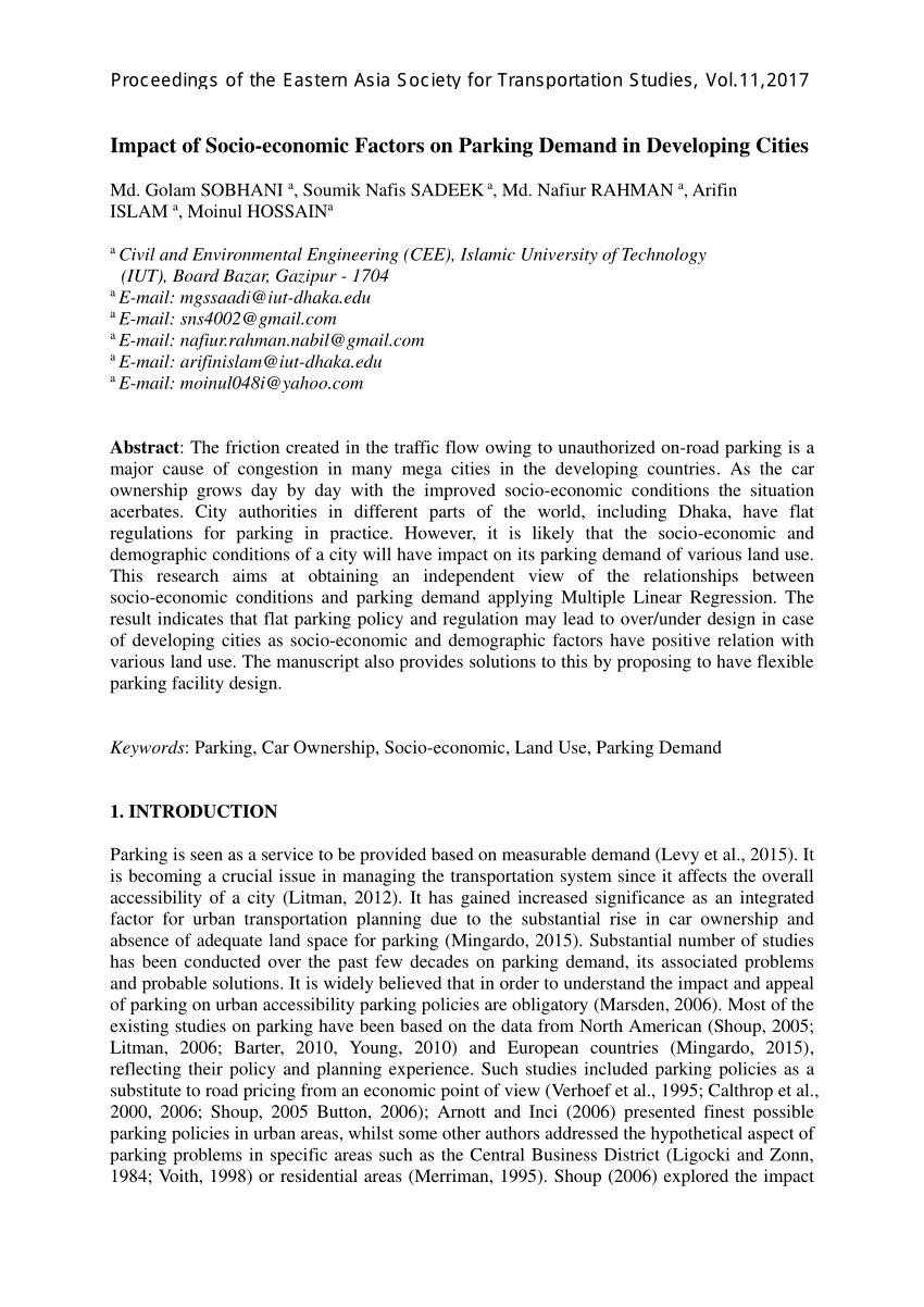 Ite Parking Generation Spreadsheet Intended For Pdf Establishing Parking Generation Rates/models Of Selected Land