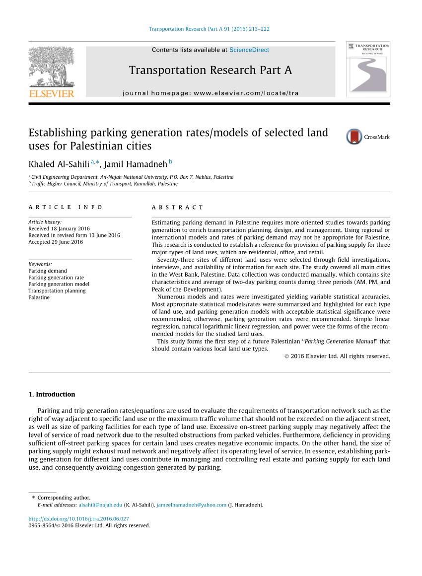 Ite Parking Generation Spreadsheet Throughout Pdf Establishing Parking Generation Rates/models Of Selected Land