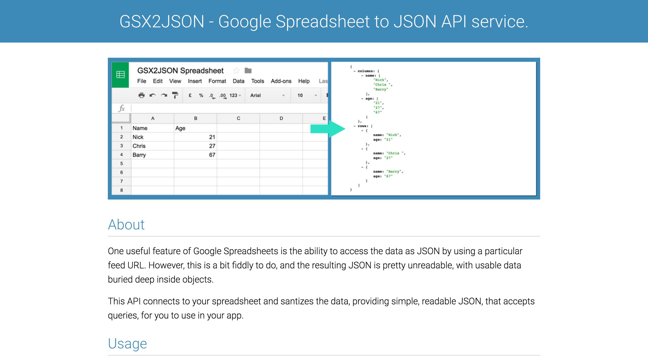 Javascript Spreadsheet Api With Gsx2Json Google Spreadsheet To Json Api Service Js Plugins Node