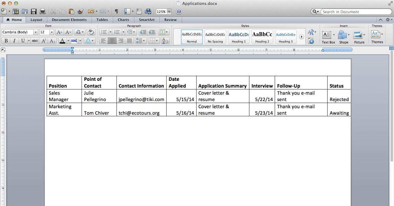 Job Application Spreadsheet Regarding 10 Easy Ways To Organize Your Job Search