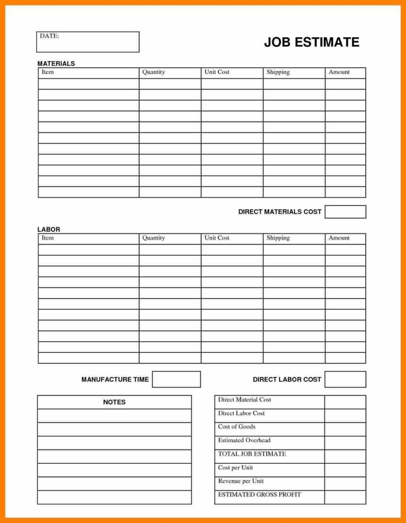 Job Cost Spreadsheet Template Intended For Construction Job Costing Spreadsheet And Cost Estimation Template