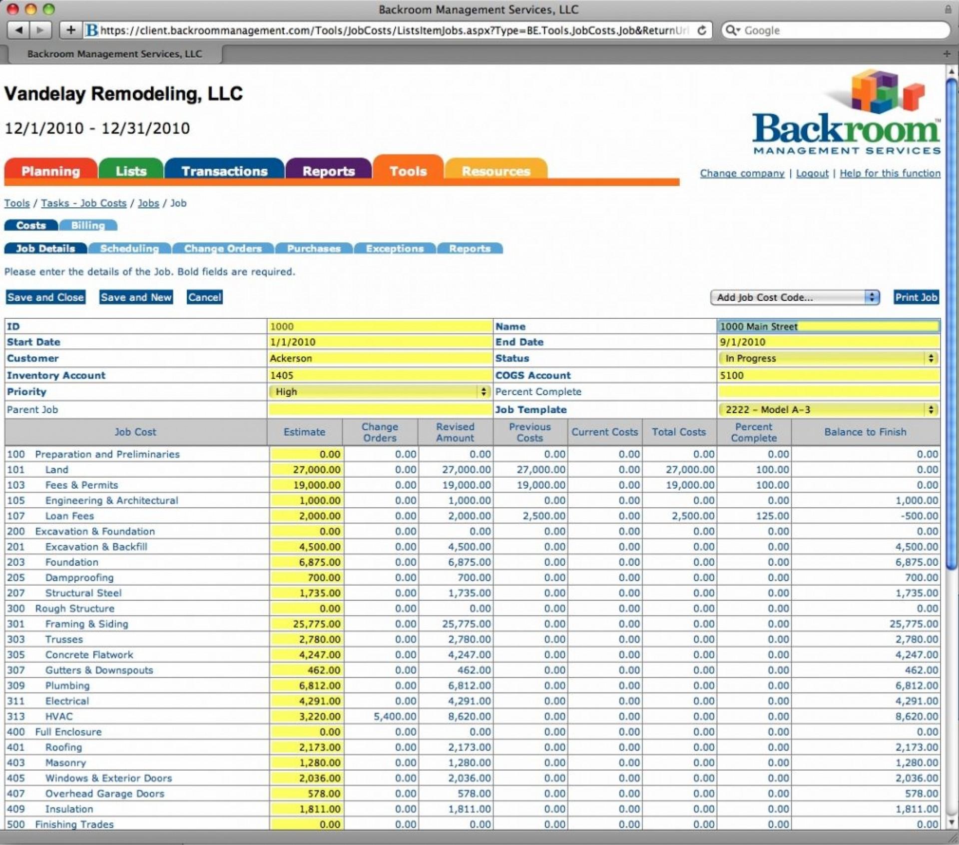 Job Cost Spreadsheet Template Regarding 002 Template Ideas Construction Job Cost Spreadsheet With Estimate