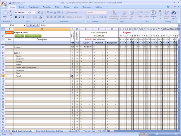 Job Costing Spreadsheet Excel For Example Of Construction Job Costing Spreadsheet Cost Template
