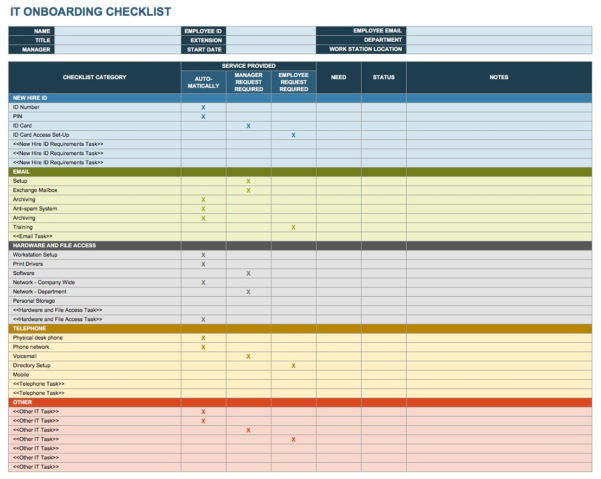 Job Offer Evaluation Spreadsheet With Regard To Free Onboarding Checklists And Templates  Smartsheet