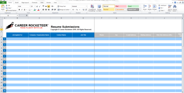 job search spreadsheet google sheets