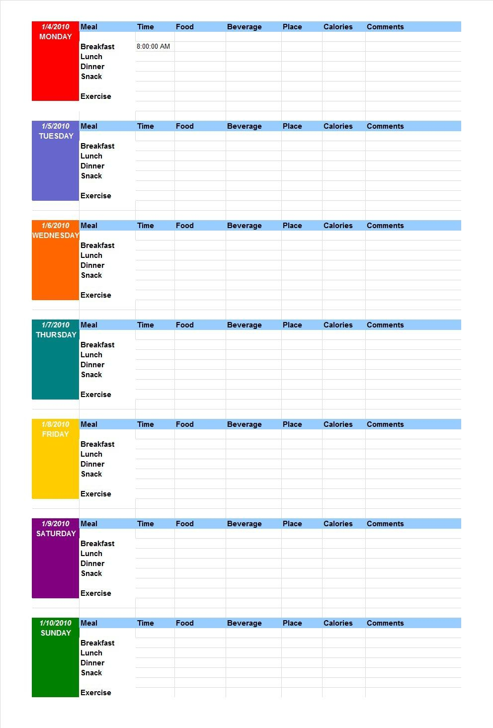 Journal Spreadsheet Template within 40 Simple Food Diary Templates  Food Log Examples