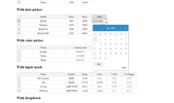 Jquery Spreadsheet Throughout Jquery Spreadsheet Plugin  Jexcel  Mg Technologies