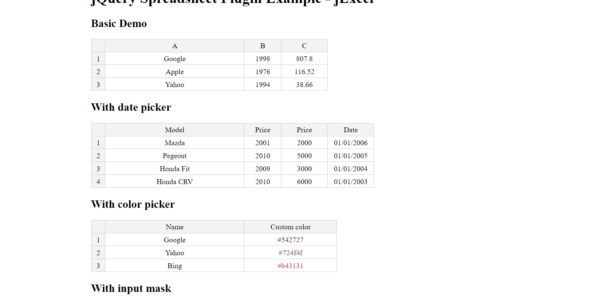 Jquery Spreadsheet With Regard To Jquery Spreadsheet Plugin  Jexcel  Mg Technologies