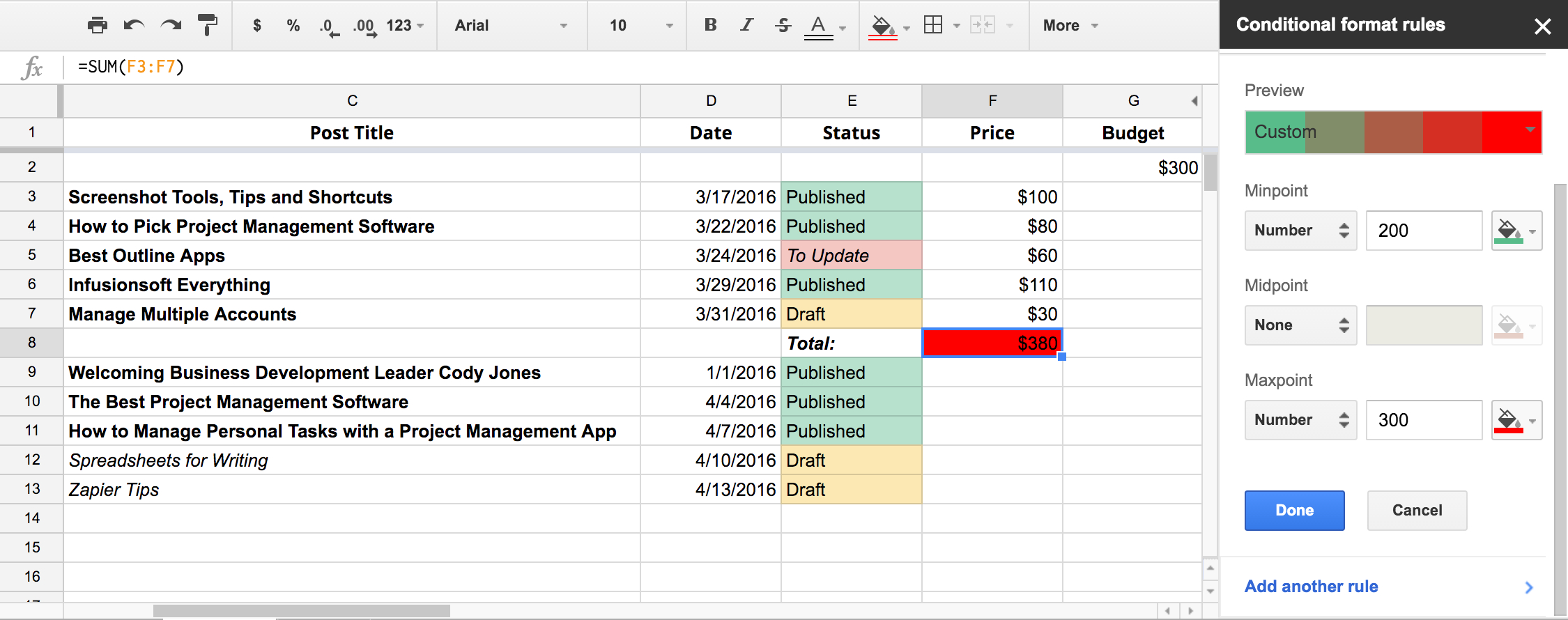 Kanban Metrics Spreadsheet Pertaining To Mission Control For Your Content: How To Use Spreadsheets For Your