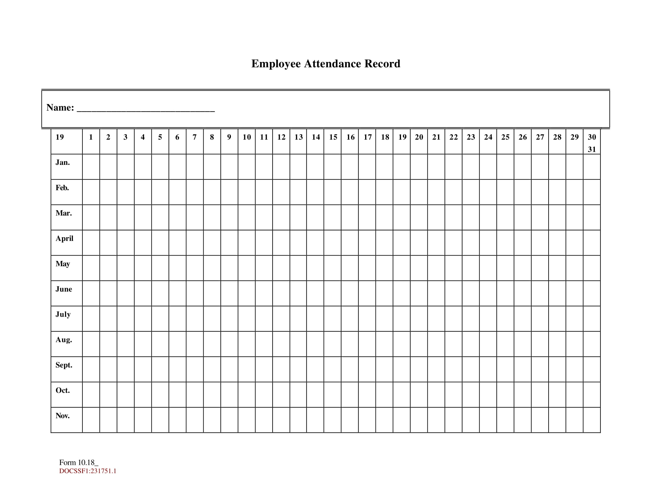 Keeping Track Of Employee Attendance Spreadsheet For 10  Printable Attendance Sheet Examples  Pdf, Word