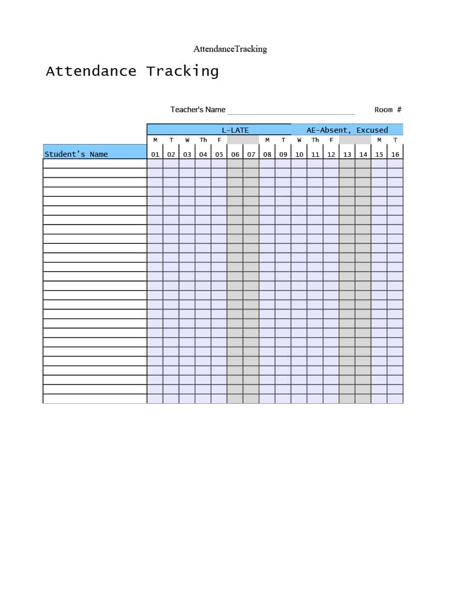 Keeping Track Of Employee Attendance Spreadsheet Pertaining To 40  Free Attendance Tracker Templates [Employee, Student, Meeting]