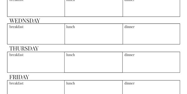 Keto Meal Plan Spreadsheet Intended For 001 Weekly Meal Plan Template ~ Tinypetition