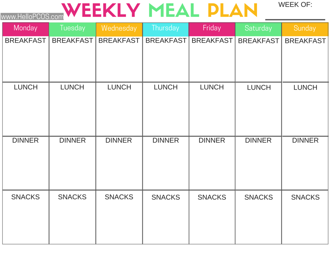 Keto Meal Plan Spreadsheet Within Pcos Diet And Nutrition  Foods, Tips, And Printables