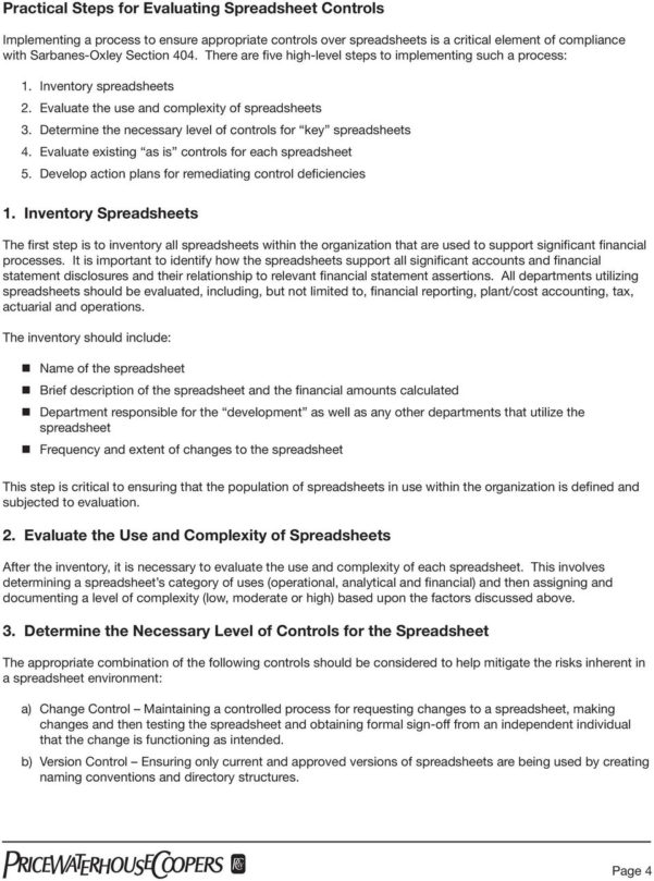 Key Spreadsheet Controls In The Use Of Spreadsheets: Considerations For Section 404 Of The