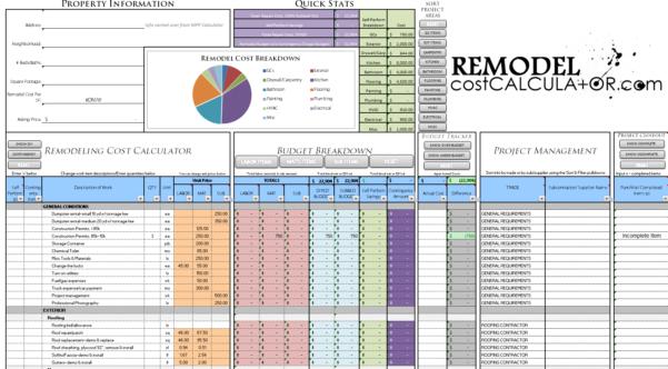 Kitchen Remodel Budget Spreadsheet Template Pertaining To Home Improvement Spreadsheet Home Renovation Budget Spreadsheet