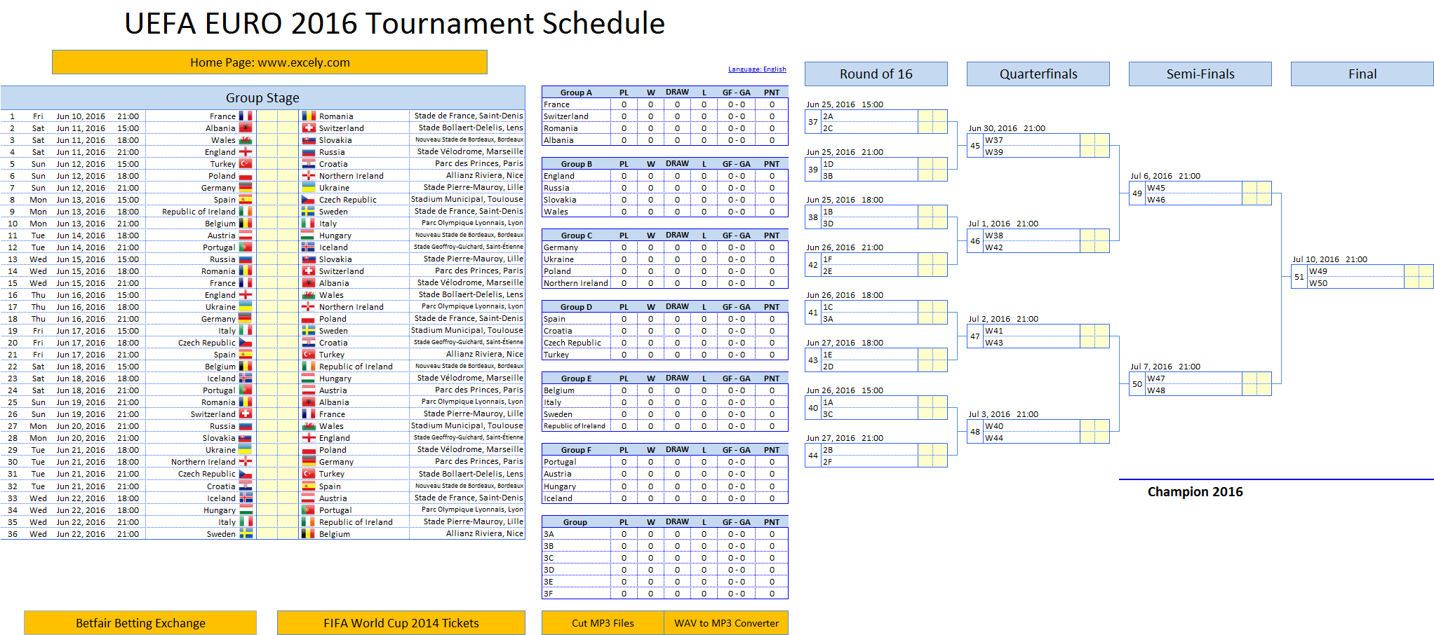 Knockout Tournament Template Excel Spreadsheet Inside Uefa Euro 2016 Schedule Excel Template  Excel Vba Templates