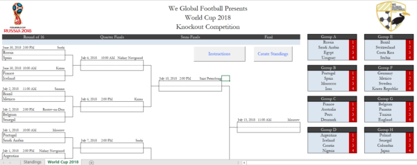 Knockout Tournament Template Excel Spreadsheet With World Cup 2018 Office Pool  Excel Spreadsheets!  We Global Football