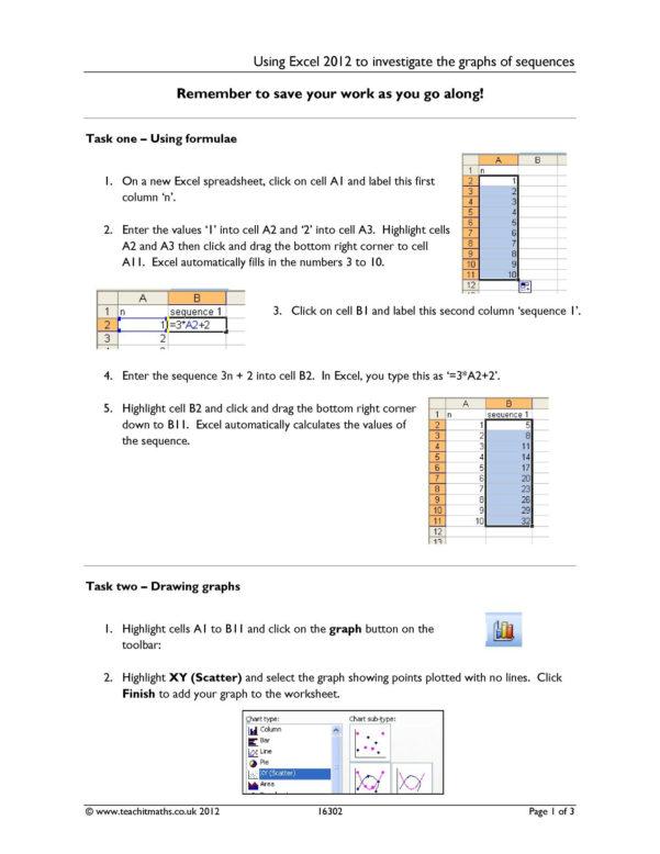 Ks3 Spreadsheet Worksheets For Rich Tasks For Ks3–4 Maths  Teachit Maths