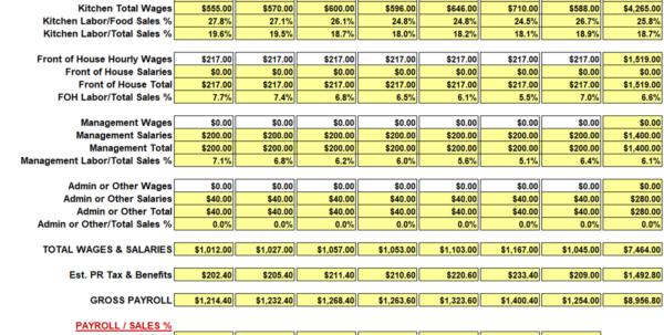 Labor Tracking Spreadsheet Regarding Restaurant Weekly Sales And Labor Workbook/spreadsheet