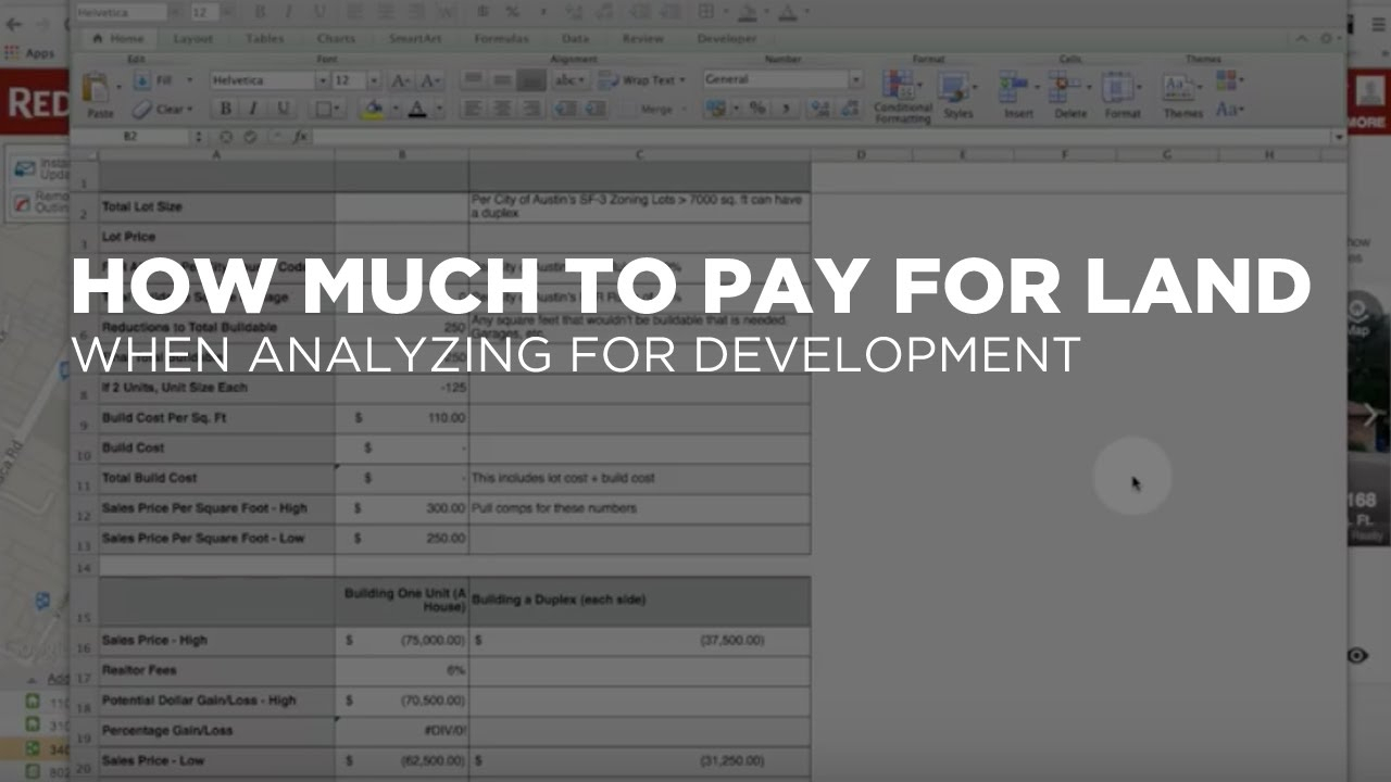 Land Development Cost Spreadsheet Regarding Screencast: Land Cost Analysis  Lessons In Real Estate Investing