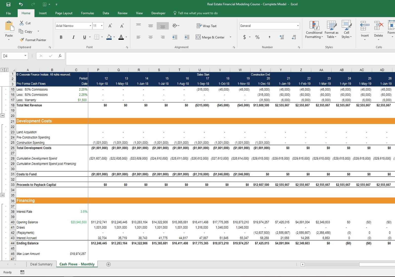 Land Development Cost Spreadsheet Within Refm  Real Estate Financial Modeling  Online Course