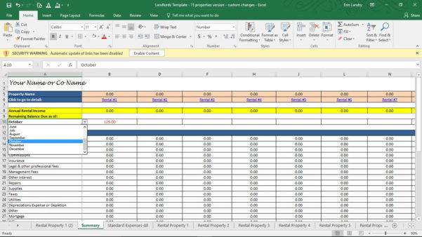 Landlord Self Assessment Spreadsheet For Property Management Spreadsheet Template Investment Rental Free Xls