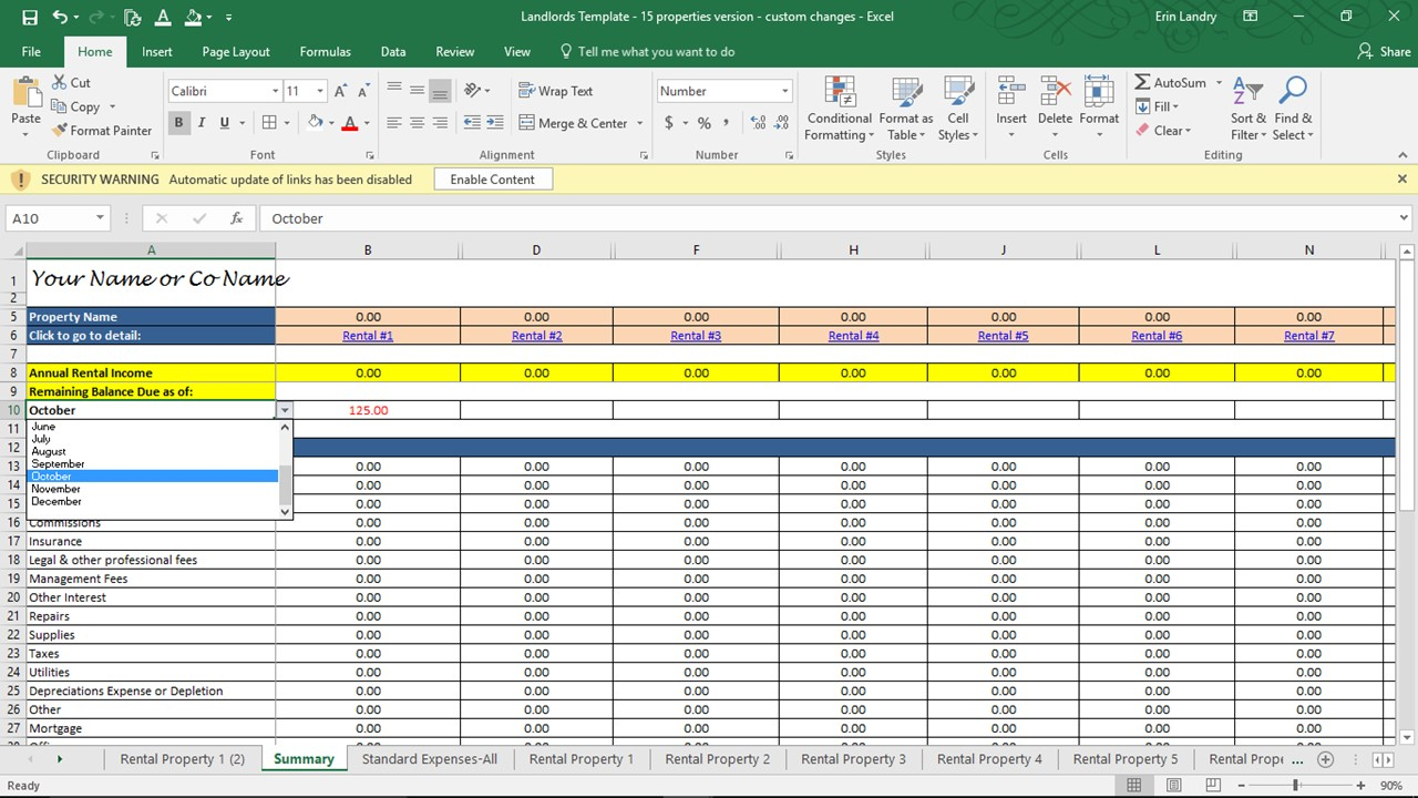 Landlord Self Assessment Spreadsheet For Property Management Spreadsheet Template Investment Rental Free Xls
