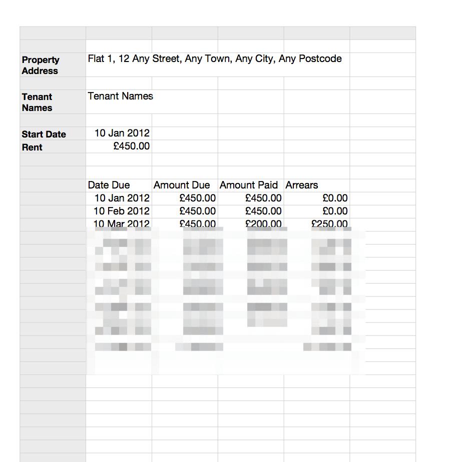 Landlord Self Assessment Spreadsheet Pertaining To Rent Schedule Sheet Rent Card  Grl Landlord Association