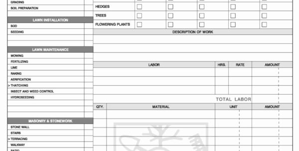 Landscaping Spreadsheet Intended For Sample Invoice Spreadsheet Landscaping Invoice Template Invoice