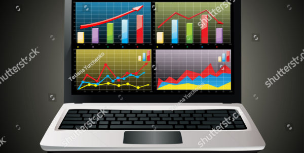 Laptop Spreadsheet In Laptop Showing Spreadsheet Some Charts Stock Vector Royalty Free