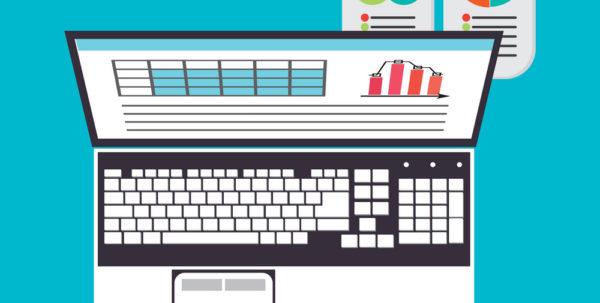 Laptop Spreadsheet Inside Spreadsheet Document Laptop Design Royalty Free Vector Image