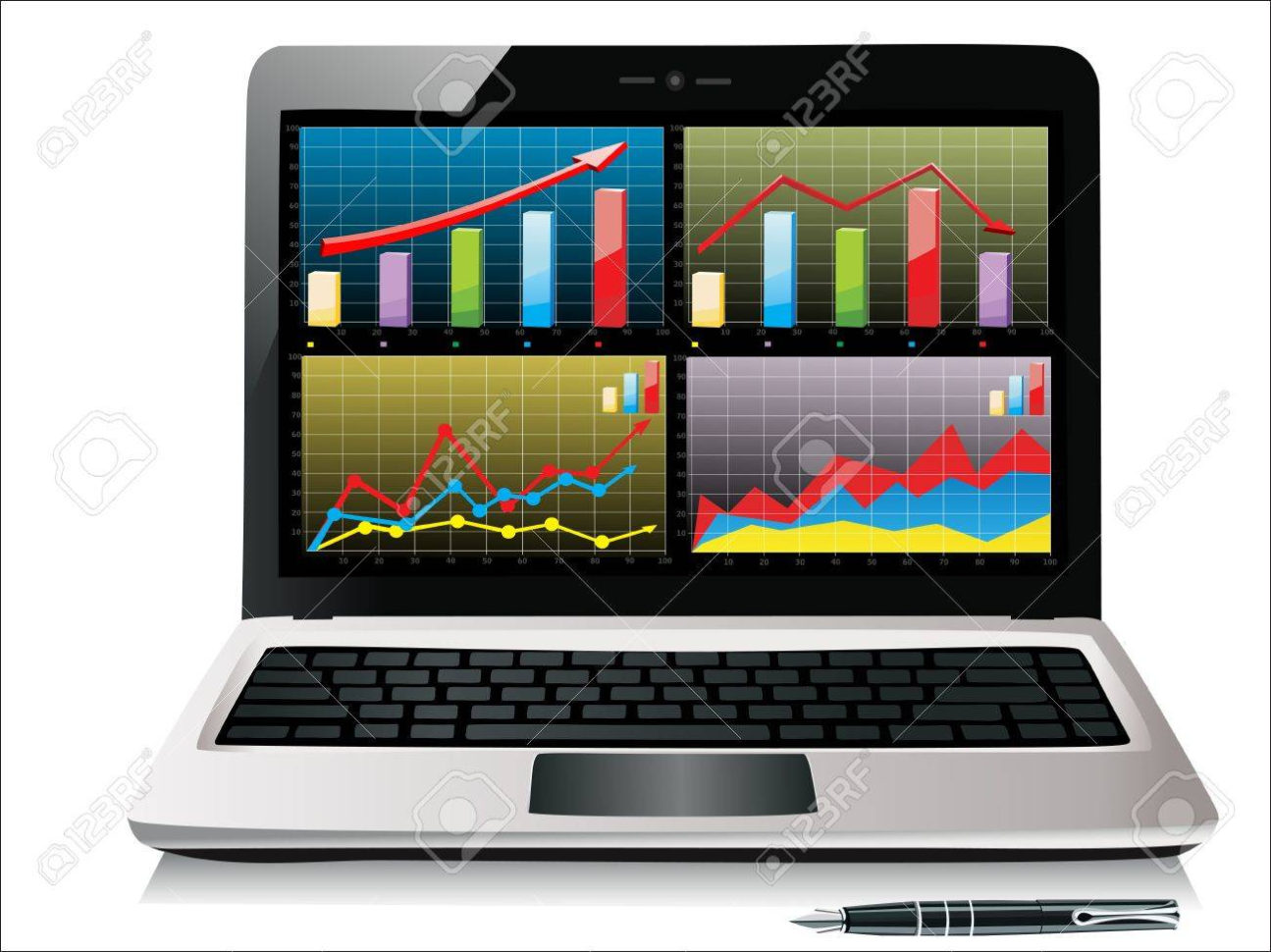 Laptop Spreadsheet With Regard To Laptop Showing A Spreadsheet With Some Charts Royalty Free Cliparts