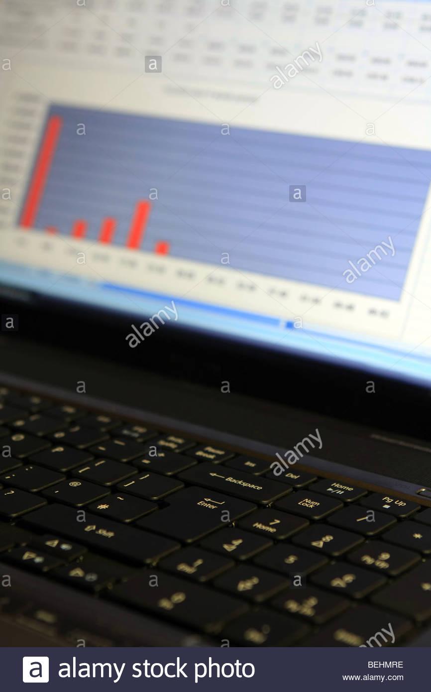 Laptop Spreadsheet With Spreadsheet On Laptop Screen Stock Photos  Spreadsheet On Laptop