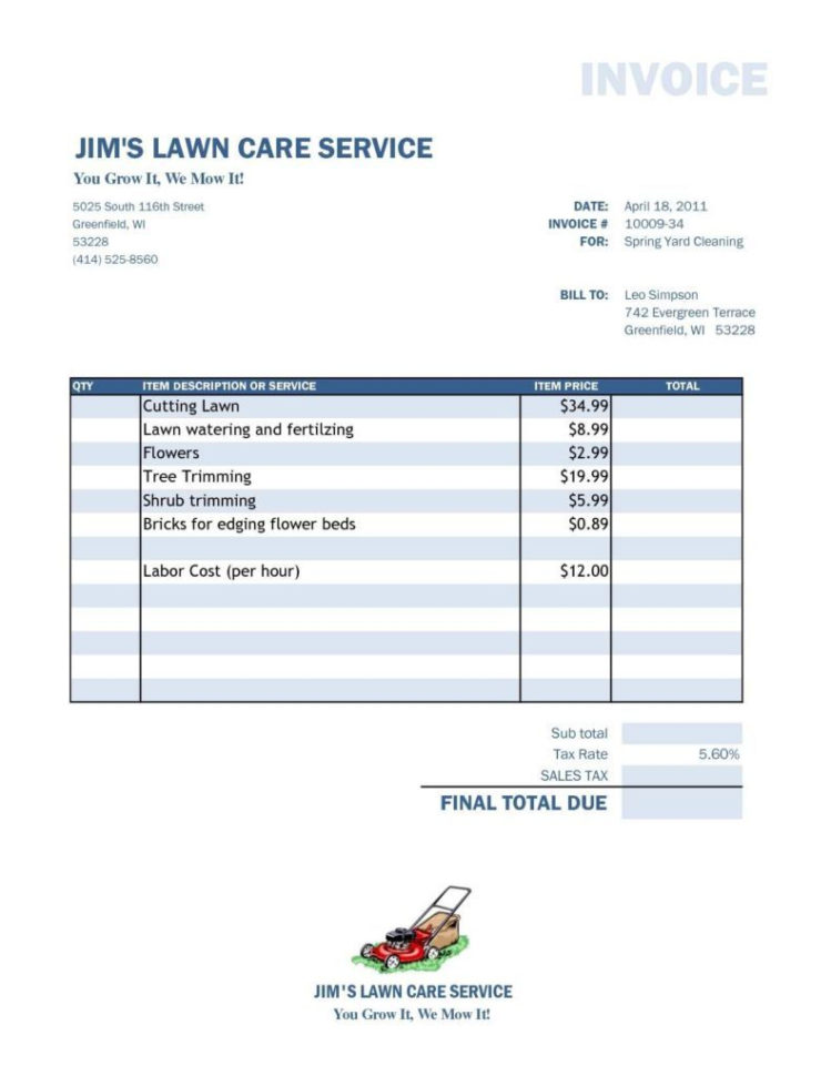 Lawn Care Pricing Spreadsheet Intended For Invoice Statement Template Free Billing And Lawn Care Excel Design