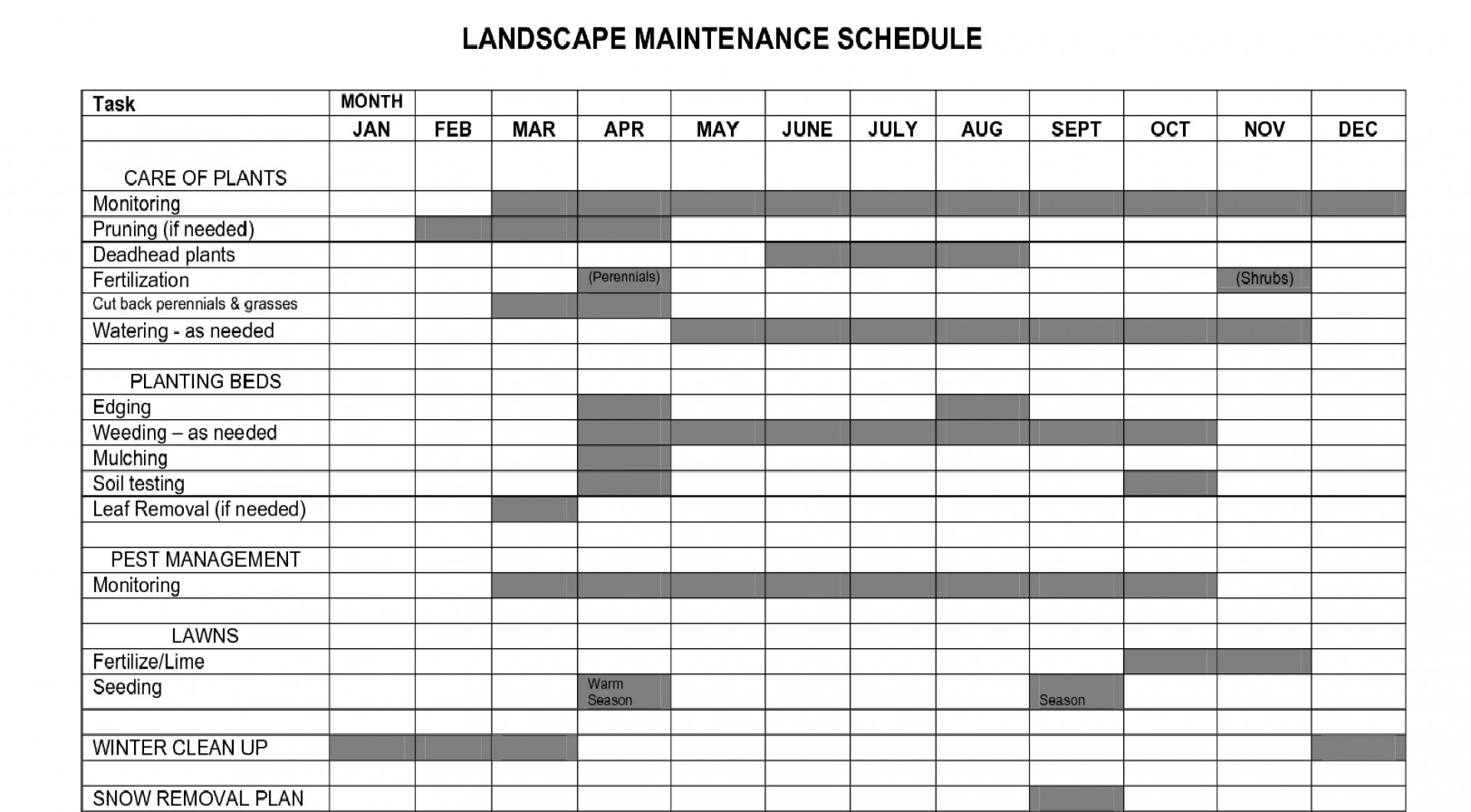 Lawn Care Schedule Spreadsheet Intended For 003 Template Ideas Lawn Maintenance Schedule Contract Tracking Excel