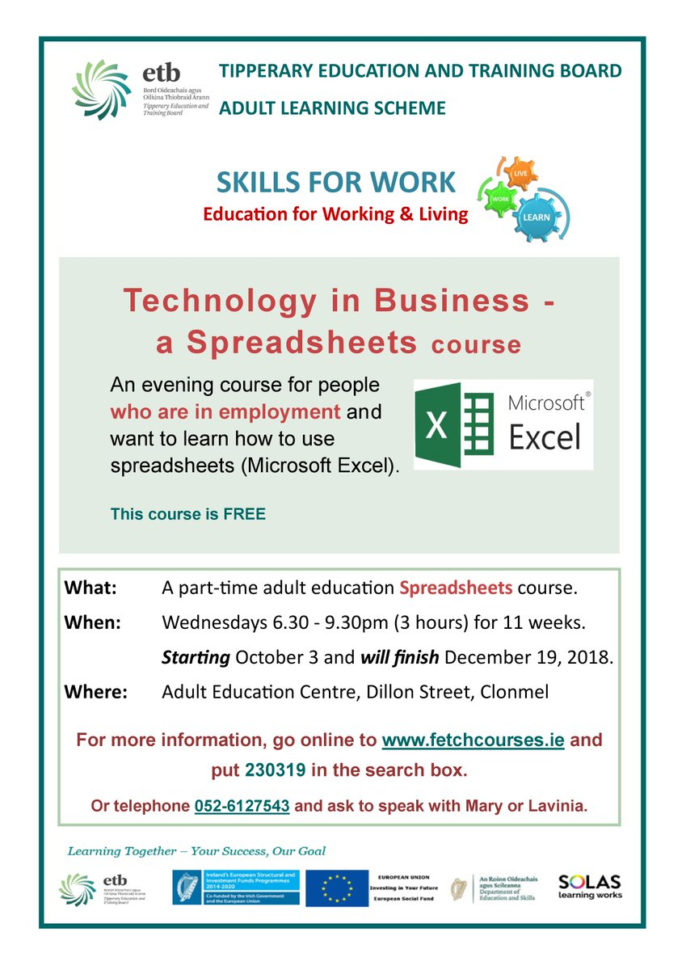 """Learn How To Use Spreadsheets Throughout Tetb Adult Learning Scheme On Twitter: """"are You Working? Do You Need"""