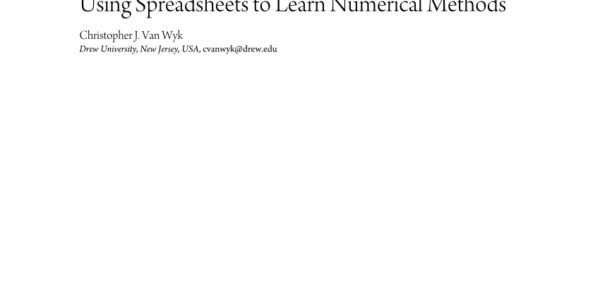 Learn Spreadsheets In Pdf Using Spreadsheets To Learn Numerical Methods