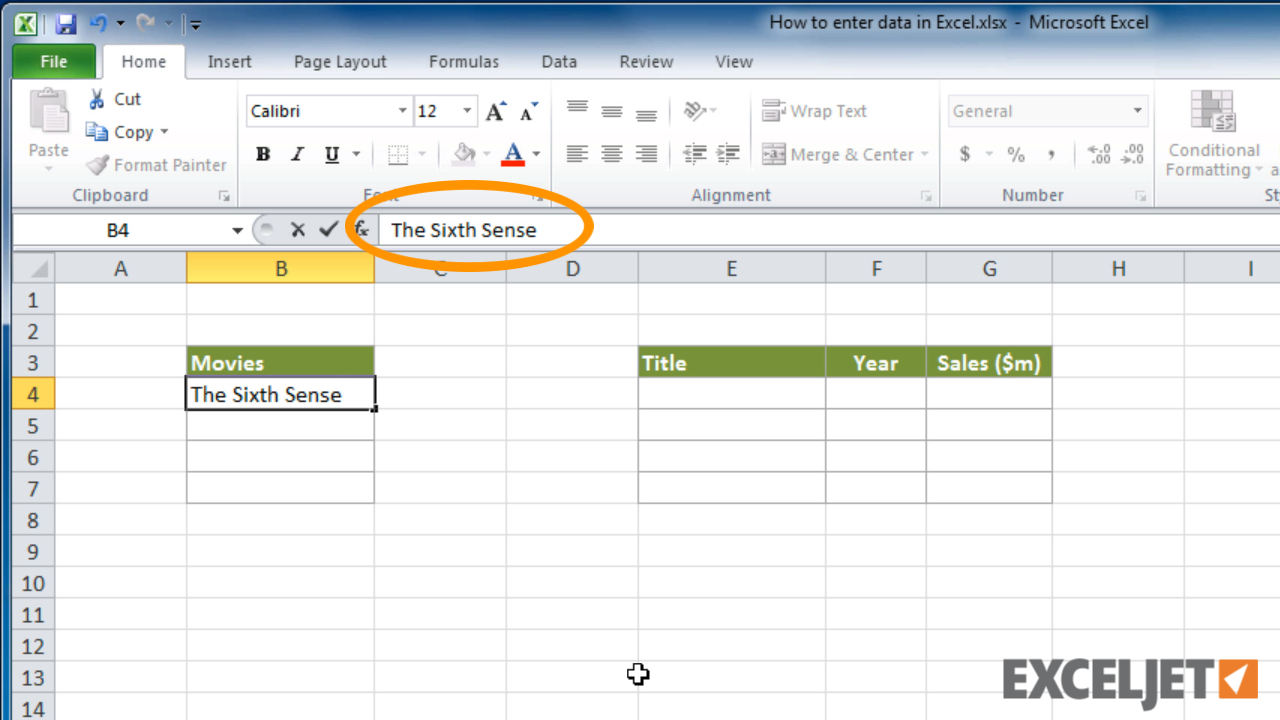 Learning To Use Excel Spreadsheets For Excel Tutorial: How To Enter Data In Excel